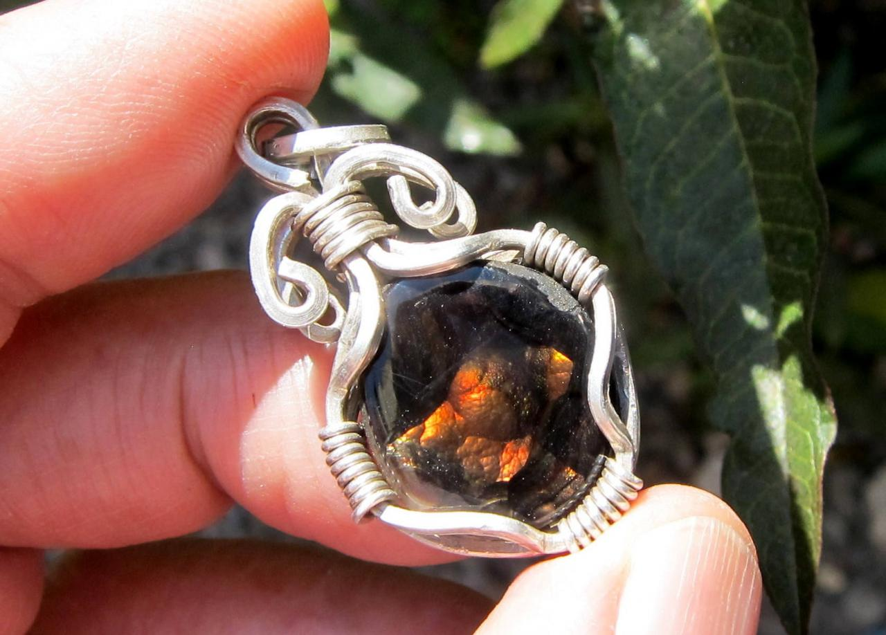 fire agate pendant fire agate necklace fire agate jewelry