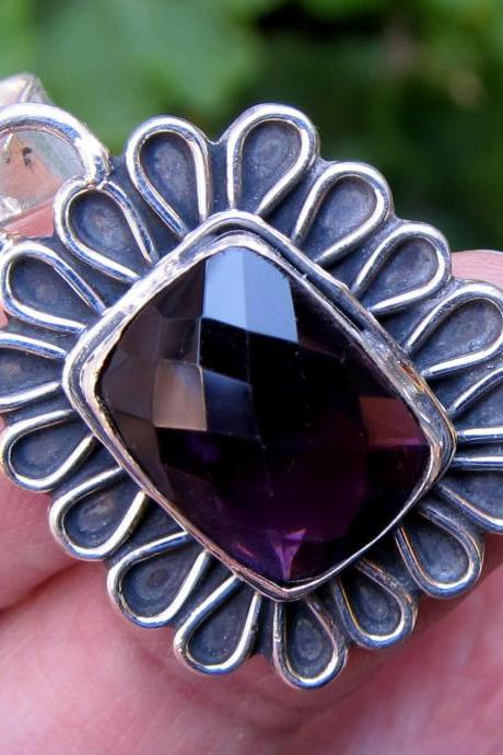 amethyst pendant sterling silver mexican silver taxco jewelry