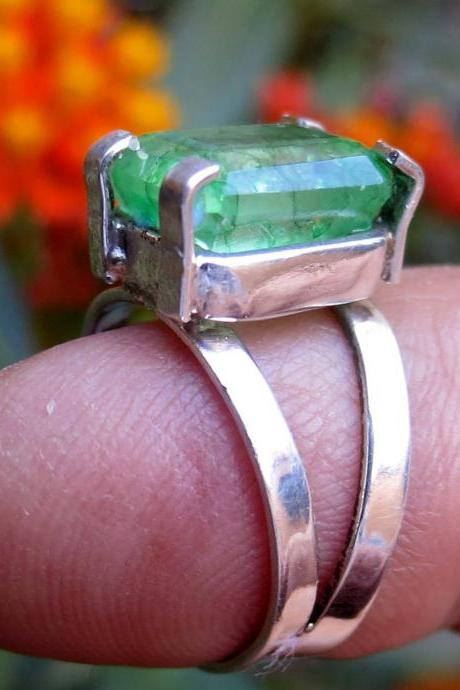 emerald ring solitaire ring natural emerald