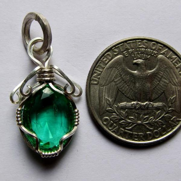 emerald pendant emerald necklace emerald in silver natural emerald