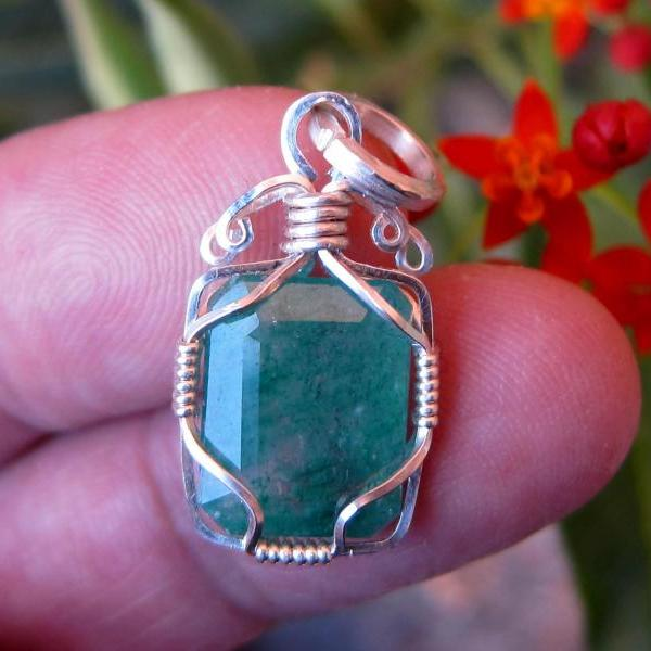 gemstone pendant emerald pendant emerald necklace